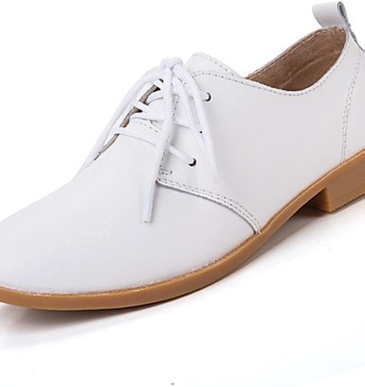 ZQ Zapatos de mujer-Tacón Plano-Comfort-Oxfords-Casual-Cuero-Negro / Azul / Marrón / Rosa / Blanco / Beige , blue-us5.5...