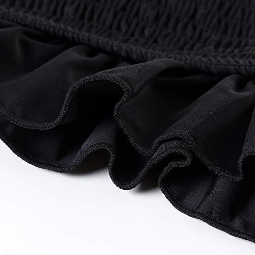 OMKAGI Damen Bandeau-Bikini Sets niedliches Shirred Badeanzug Hohe Taille Badeanzug - - X-Large - 4