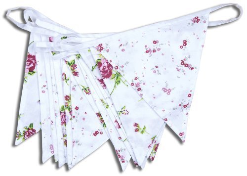 100% Drapeau coton - Floral Chalet - 10m/33 double face DRAPEAUX - The Cotton Bunting Company