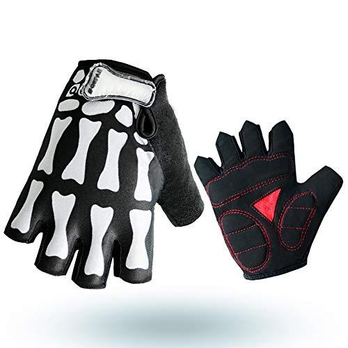 Montar guantes calientes de medio dedo Guantes de garra de fantasma esqueleto al aire libre Equipo para bicicleta de montaña (Color : Multi-colored, Size : M)