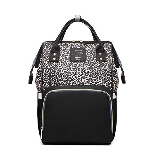 Mommy Bag Stilvolle Multi-purpose Großraum Windel Rucksack Mom Aus Doppel-schulter Tasche (42 X 26 X 15cm) 42 x 26 x 15CM Leopard-Druck-Kaffee (Leopard-druck Schulter Tasche)
