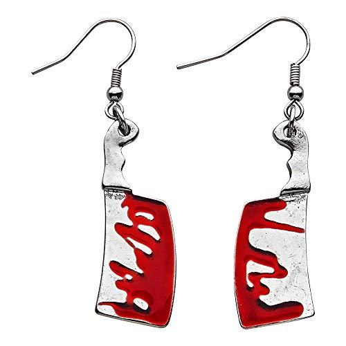WIDMANN 12470 Ohrringe Blutiges Hackebeil, Damen, Silber/Rot