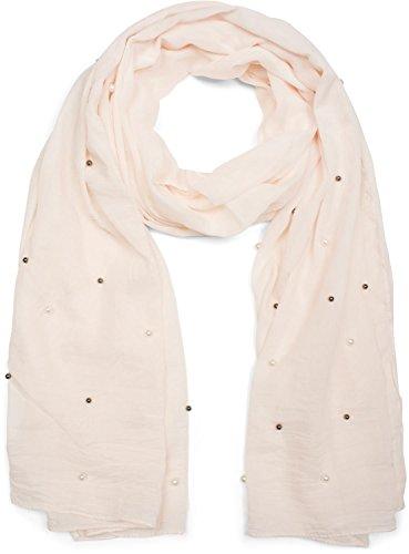 styleBREAKER unifarbener Schal mit hellen und dunklen Perlen besetzt, Tuch, Damen 01016146, Farbe:Champagner