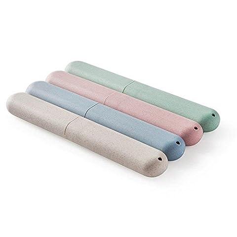 Kingcenton 4x Brosse à dents Coque Housse de voyage pour support plastique, Stockez propre brosses sur les vacances (Rose, Bleu, Vert et beige et Carbide