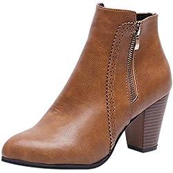 Logobeing Botines Mujer Tacon Invierno Planos Tacon Ancho Piel Botas de Mujer Medio Zapatos Combat Casual Planas Zapatos de Plataforma-5849(38,Marrón)