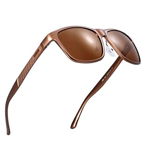 8b0976d91b771 ATTCL Hombre Wayfarer Gafas de sol Polarizado Al-Mg Metal Super Ligero  Marco 18587brown