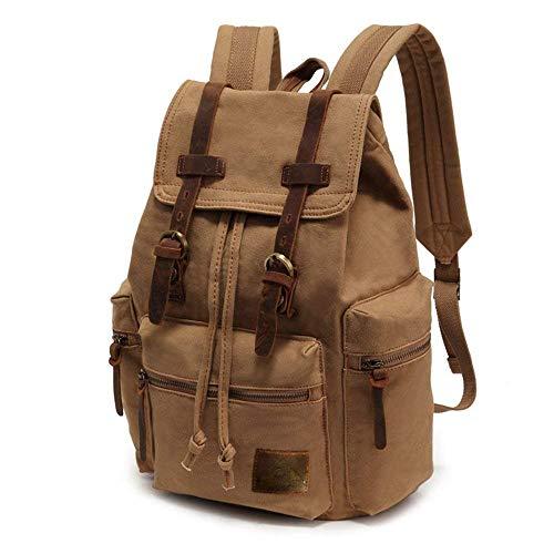 Vintage Khaki (SHS Vintage Rucksack Leder Laptop-Rucksack Militärrucksack Männer und Frauen Jungen und Mädchen Outdoor-Reise wasserdichter Rucksack(Khaki))