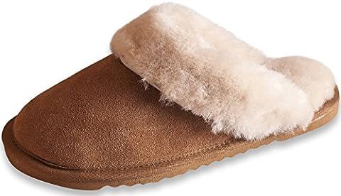 Nordvek Luxury Womens 100% Genuine Sheepskin Mule Slipper With Cuff And Lightweight Sole # 406-100 - Chestnut,