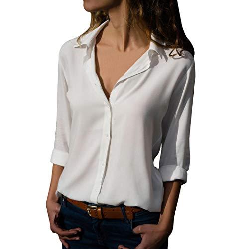 Camicetta donna felpe donna,yesmile moda donna casual womens ladies chiffon manica lunga ol camicia casual loose top camicetta in poliestere sexy maglietta maglia top donna