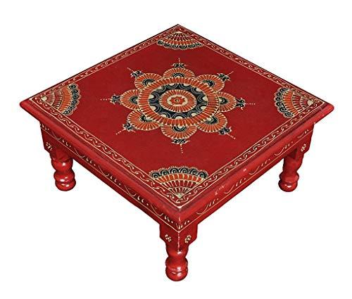 Lalhaveli Peint à la Main Petite Tables d'appoint Design Mini Tabouret Carré 28 x 28 x 14 cm
