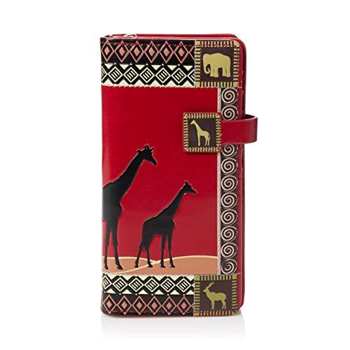 Shagwear portafoglio per giovani donne , large purse : (safari africano rosso/ african safari)