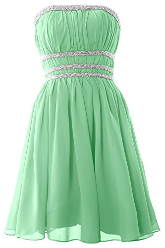 MACloth Women Strapless Chiffon Short Prom Dress Cocktail Party Formal Gown Minze
