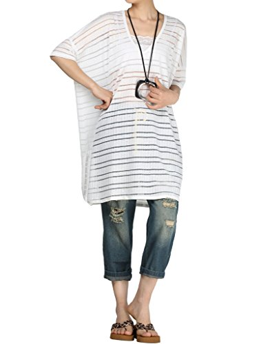 Vogstyle Damen Sommer Stripes Casual Blouse Shirt Tops Style 1-White (Neuheit T-shirts Mutterschaft)