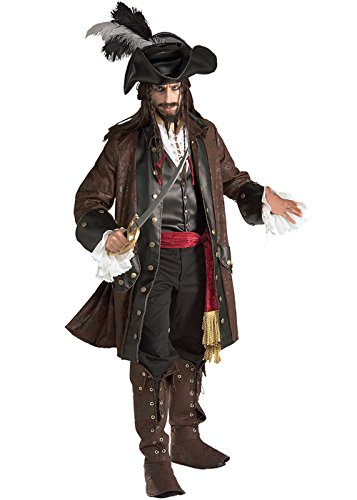Jacks Kostüm Sparrow - Rubie's Jack Sparrow Style Deluxe Karibik-Piraten-Kostüm XL (44-46