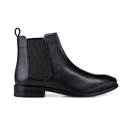 Another A Damen Damen Chelsea-Boots aus Leder, Schwarze Stiefelette mit Leichter Profilsohle Schwarz Leder 39