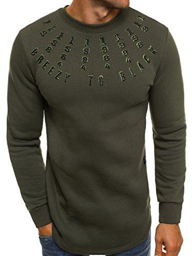 OZONEE Herren Sweatshirt Longsleeve Langarmshirt Motiv BREEZY 171589 KHAKI (Outfit Mann Grüner)