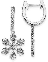 df7068694751 Pendientes de oro blanco de 14 quilates con diamantes de imitación de copo  de nieve de