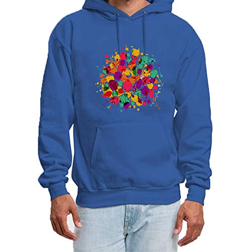 qianyi maoyi Men's Pullover Hoodie Unisex - Glow in Color Paint Splatter Graphic Sweatshirt Long Sleeve Cotton Casual Hooded Tops M Blue (Glow Paint Pink)