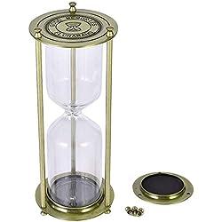 Florawang Decoración de Reloj de Arena de Vidrio vacío de Metal para la Ceremonia de Boda de Arena (Bronce)