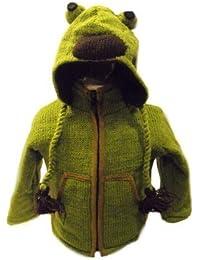 Kids Frog Jacket - Handknitted Fair Trade Woollen Childs Animal Jacket