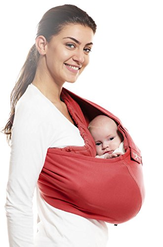 WallaBoo portabebés Connection, 100% algodón, se adapta a la forma de tu bebé, ergonómica, color rojo
