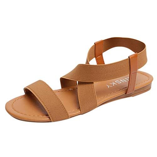Vovotrade ♫ Casual Scarpe Basse per Le Donne Anti Slittamento Sandali da Spiaggia Cross Strap Peep-Toe Elastico Pantofole