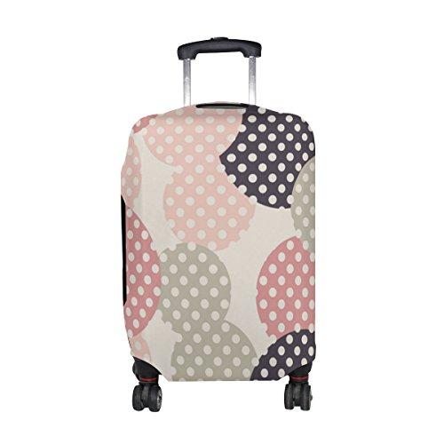 ALAZA Círculos la vendimia con el lunar de equipaje cubierta se ajusta 22-24 pulgadas maleta de viaje Spandex protector