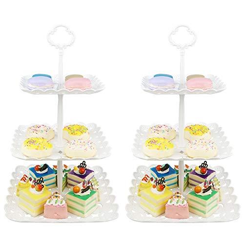 Hetoco 3 Pisos Bandeja de Tartas Torre de Postres Soporte para Tartas Cupcakes Food Dessert al Pomeriggio Tea Party Compleanno(Juego de 2)-Plaza Hueca