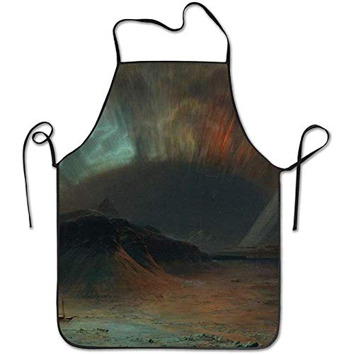 Funny Aprons Classical Art Classic Art Aurora Borealis Frederic Iceberg Funny Cooking Apron for Men - BBQ Grill Kitchen Chef Barbecue Gifts, One Size Fits Most