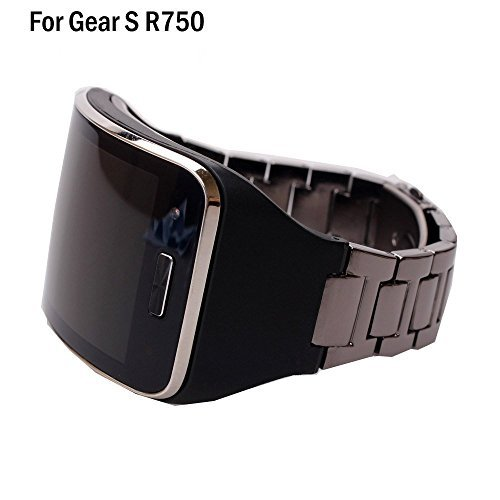 HWHMH 1PC Replacement Stainless Steel Metal Band / Genuine Leather Band Strap For Samsung Galaxy Gear S SM-R750 Smart Watch (No Tracker) (Black Stainless Steel, Black) by HWHMH