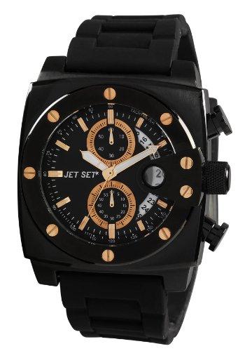 Jet Set J3173b-237Santorini–Watch Men–Quartz–Chronograph–Black Dial Black Steel Strap