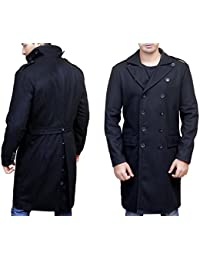 Superior Leather Garments Double Brested Black Woolen Trench Over Coat