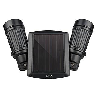 Aznoi 14 LED Doppel Einstellbar 0.5W IP65 wasserdichte outdoor LED Solarlampe, Drehwinkel-Design LED-Lichter mit Bewegungs-Sensor für Garten, Zaun, Hof, Fahrbahn, Treppen, Außenwand usw. (schwarz)