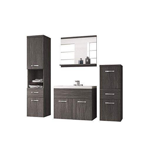 Badmöbel Set Bella I mit Waschbecken und Siphon, Modernes Badezimmer, Komplett, Sp...