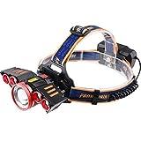 MUTANG 5LED Starke Scheinwerfer USB-Aufladung Im Freien Wasserdichte Taschenlampe T6 Multi-LED Lampe Induktion Stirnlampe Angeln Lichter (Farbe : Red)