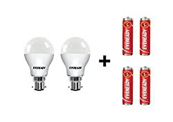 Eveready B22 Base 9-Watt LED Bulb (Pack of 2, Cool Day Light) with Free 4 1015 AA carbon zinc batteries