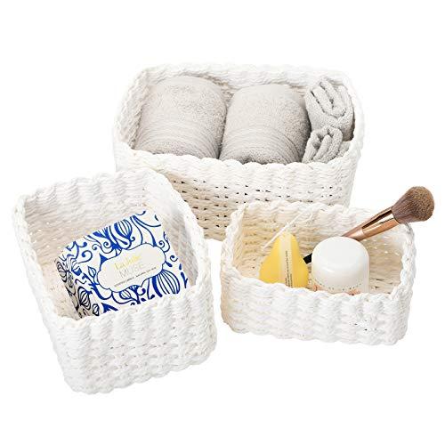 Aufbewahrungskorb 3er Set Biologisch Handarbeit aus Papier, Umweltfreundliche Aufbewahrungsboxen, Weiß Faltbare ,für Accessoires Schminke -