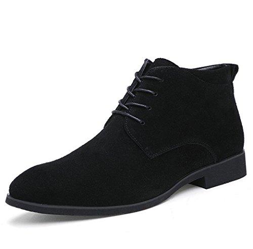 Heart&M cuir véritable casual hommes givré bout pointu chaussures en cuir daim Black