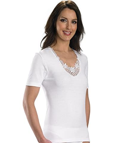 Slenderella - Caraco - Femme White with Floral Lace Trim Detailing. grand