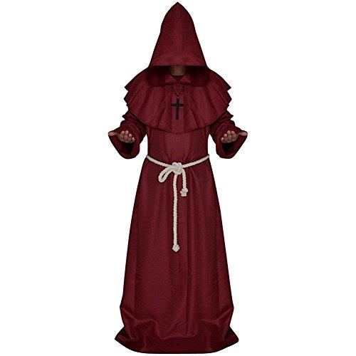 Foto de Adultos Disfraz de Monje Verdugo Sacertote Traje Medieval con Cruz Cosplay para Halloween Carnaval