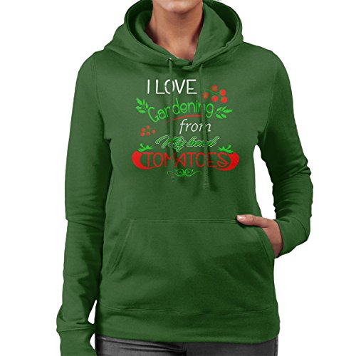 Gardening Head Tomatoes Women's Hooded Sweatshirt Bottle Green