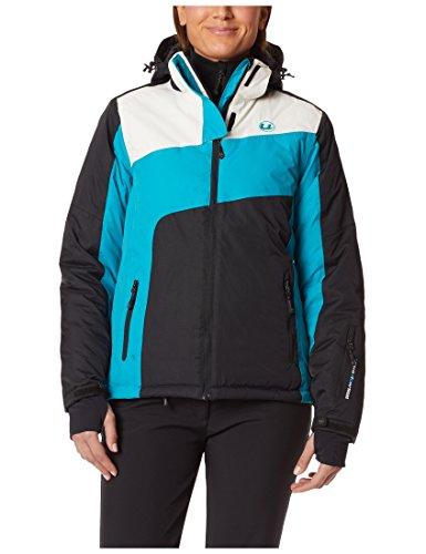 Ultrasport Kitzbühel Skijacke Damen - Winterjacke Frauen - Funktionsjacke in Schwarz, Weiß & Türkis -  Snowboardjacke zum Überziehen - Jacke Ultraflow 10.000