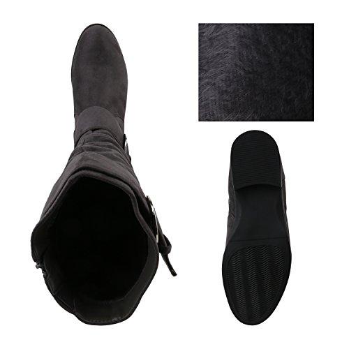 Stiefelparadies Klassische Gefütterte Stiefel Damen Schuhe Veloursleder-Optik Winterschuhe Schnallen Blockabsatz Winter Boots Flandell Grau Avion