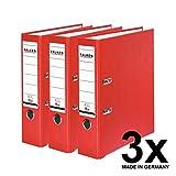 Falken PP-Color Kunststoff-Ordner 8 cm breit DIN A4 rot 3er Pack Ringordner Aktenordner Briefordner Büroordner Plastikordner Schlitzordner