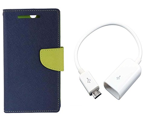 AUX MART Fancy Diary Flip Cover Case For Micromax Canvas Xpress 2 E313 Blue + Micro USB OTG Cable Attach Pendrive Card Reader Mouse Keyboard to Tablets Mobile  available at amazon for Rs.229