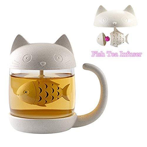 BigNoseDeer Katzen Glas Tee Becher Wasser Flasche mit Fisch Tee Infuser Sieb Filter 250ML (8OZ) (Weiß)