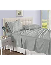 Urban Space - Regal 220 TC 100% Organic Satin Cotton Double Bedsheet with 2 Pillow Covers, Satin Stripes