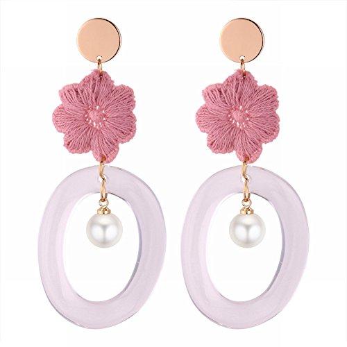 Kunst Stoff Blume Ohrringe Persönlichkeit Ring Acryl Ohrringe, Rosa (Rosa Ohrringe Mod)