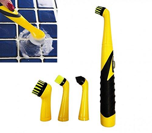 Kit de 4 cepillos BIG BRUSH con batería para la limpieza con mango er