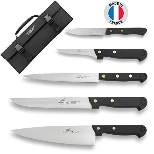 Sabatier - Malette du cuisinier 5 couteaux professionnels français lames acier inox manches à rivets